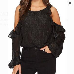 Astr Cold Shoulder Metallic Bodysuit Blouse